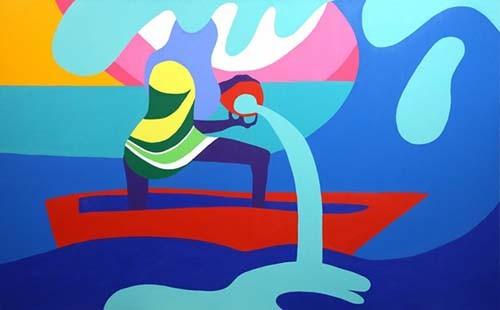 TODD JAMES Lady on boat, 2016. Acrylic on canvas