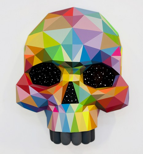 ART MADRID'18 Okuda San Miguel_Kaleidoscope skull_ sculpture